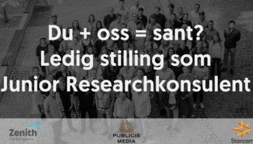 """Sort hvitt gruppebilde av ansatte i Publicis, med tekst """"Du+oss=sant? Ledig stilling som Junior researchkonsulent"""". Logoer nederst for Zenith, Publicis Media, Starcom."""
